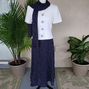 Kasper white jacket polka dot blue skirt and scarf
